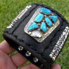 Leather Ketoh cuff authentic Bracelet Turquoise sign Native Indian B&N&NASTAGIO