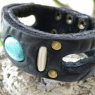Handmade leather Bracelet wristband  Genuine Buffalo  Leather, Real Turquoise