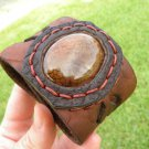 Handmade Adjustable cuff  Dragon eye Agate Bracelet Buffalo Leather Brass