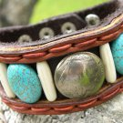 Real turquoise bracelet handmade Signed Indian Style with Bone tied with sinew