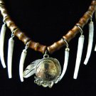 Necklace Real Buffalo Indian Head Nickel coin handmade dentalium shell  choker