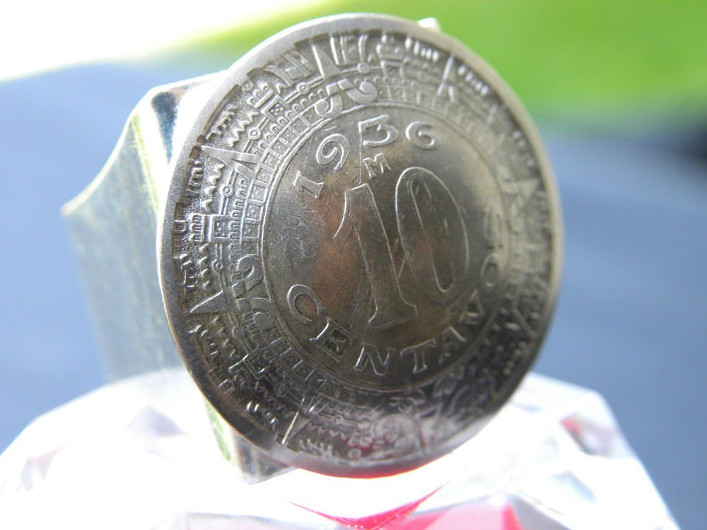 Ring Real Mexican Coin Aztec calendar Adjustable Handcrafted Artisan mg