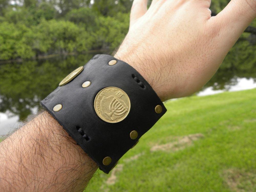 Handmade Jewish Bracelet Holly Land Jerusalem  Israel coins Menorah Wristband