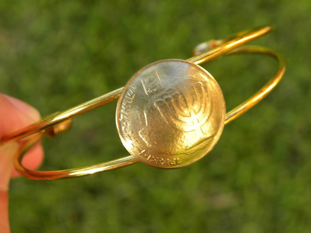 ReaI Israel coin 10 Agorot holy land Jewish bracelet cuff adjustable gold plate