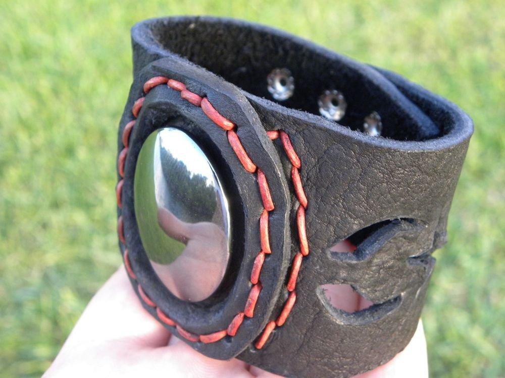 Natural  Agate Stone Bracelet Genuine Buffalo Leather customize wristband cuff