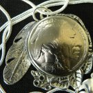 Necklace Real Buffalo Indian Nickel coin readable dates Handcraft pendant
