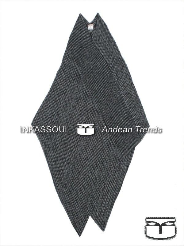 INKASSOUL alpaca PONCHO - PON002 - BR-957 (black/grey)