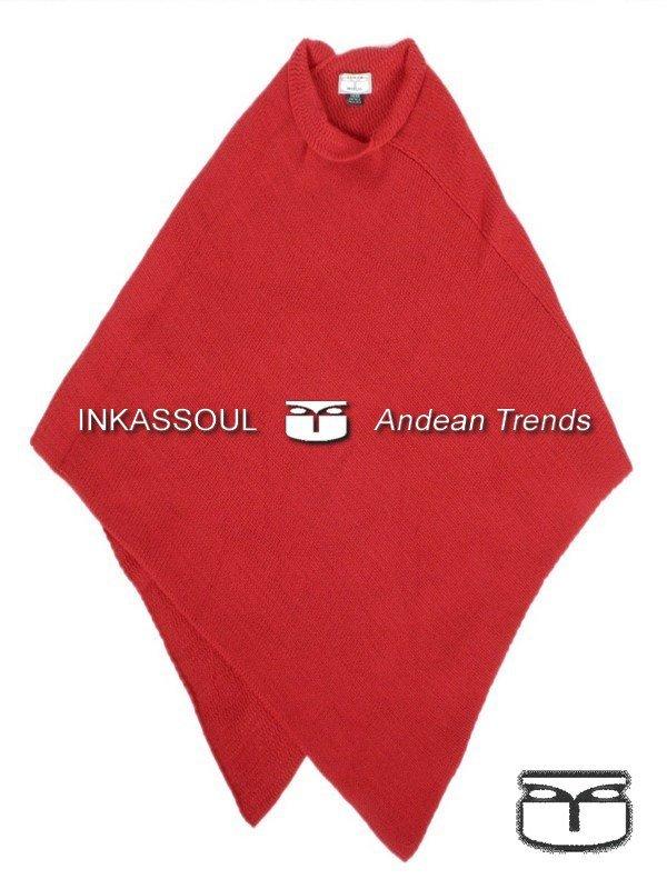 INKASSOUL alpaca PONCHO - PON002 - BR-610 (red)