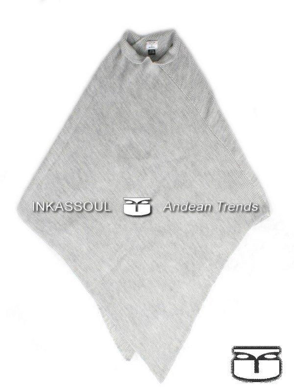 INKASSOUL alpaca PONCHO - PON002 - BR-399 (light grey)
