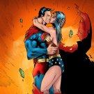 Superman Wonder Woman Kiss Comic Art 24x18 Print Poster