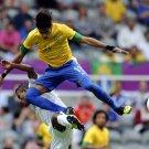 Neymar Da Silva Jump Brazil Football 16x12 Print Poster