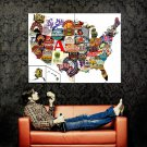 United States USA Beer Map Cool Huge 47x35 Print Poster