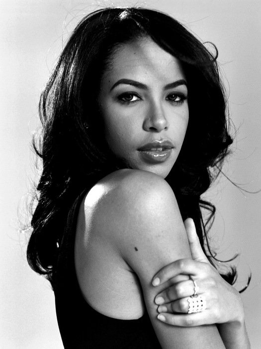 Aaliyah Pop Hip Hop Music Singer Portrait BW 24x18 Print Poster