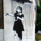 Girl Umbrella Rain Banksy Graffiti Street Art 24x18 Print POSTER