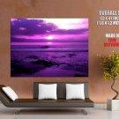 Beautiful Purple Sunset Sea Waves Nature Landscape Huge Giant Print Poster