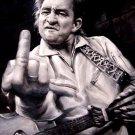 Johnny Cash Giving The Finger Art BW Music 16x12 Print POSTER
