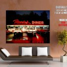Rosie S Diner Night Neon Lights Retro Cars Vintage Art Huge Giant Poster