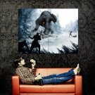 Monster Hunters Battle Snow Fantasy Art Huge 47x35 Print Poster