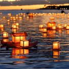 Hawaii Floating Lanterns Sunset Holiday 24x18 Print POSTER