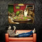 Dogs Playing Poker Coolidge Painting Art Huge 47x35 Print Poster