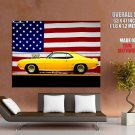 Chevrolet Camaro 1969 Muscle Car American Flag Huge Giant Print Poster