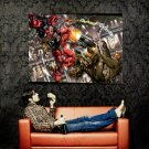 Deadpool Gun Fight Marvel Comics Art Huge 47x35 Print Poster