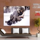 Sexy Babes Stocking Snow Winter Lesbian Huge Giant Print Poster