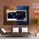 Day Night World Map Art Huge Giant Print Poster
