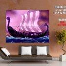 Viking Ship Painting Art Huge Giant Print Poster