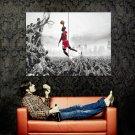 Michael Jordan Crowd Dunk Bulls NBA Huge 47x35 Print Poster