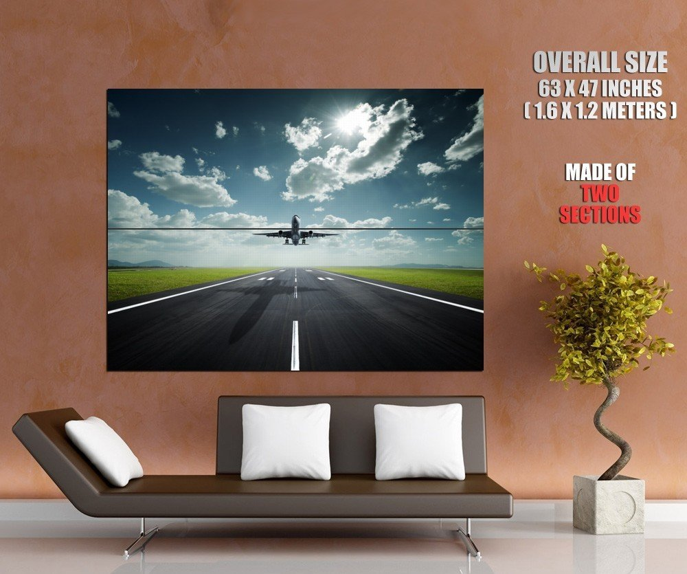 Landing Airplane Airport Aircraft HUGE GIANT Print Poster