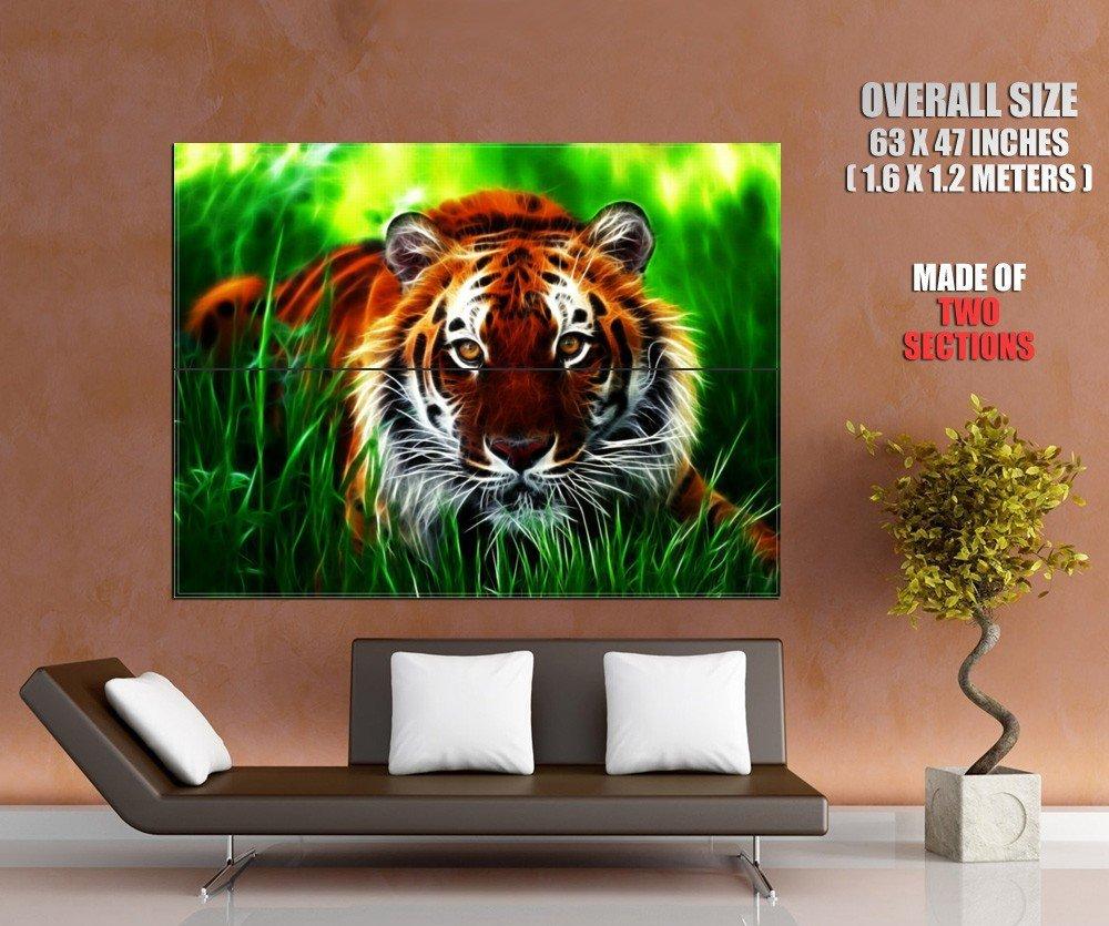 Fractal Tiger Wild Cat Amazing Art HUGE GIANT Print Poster