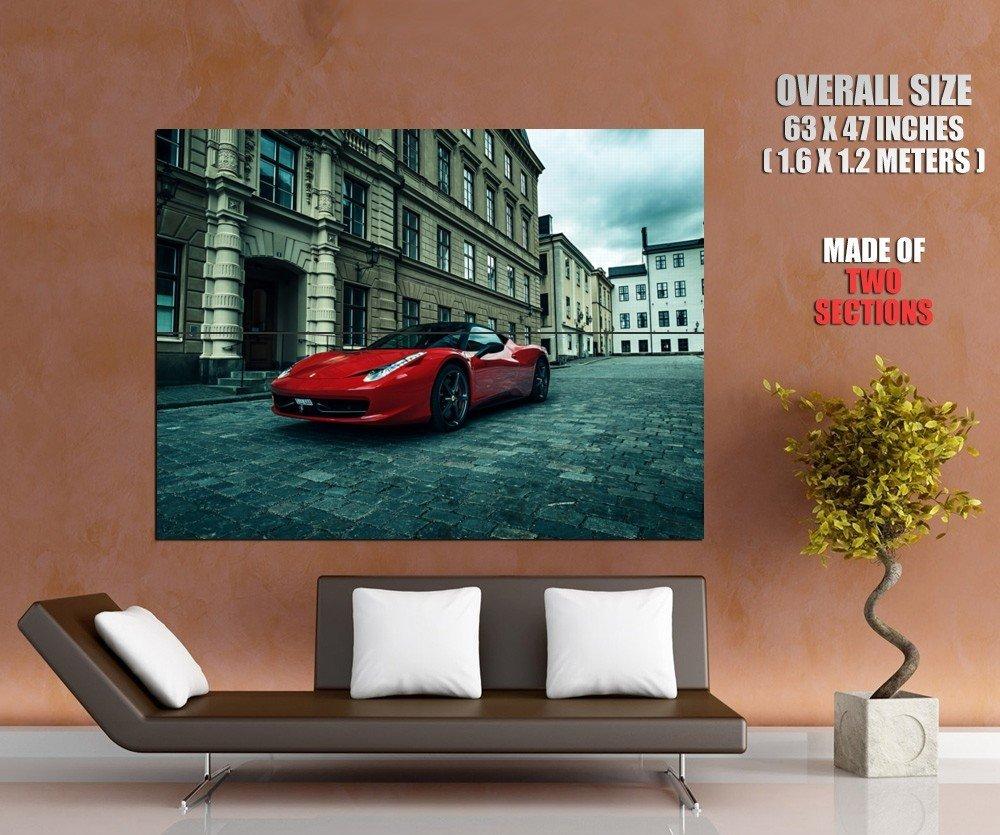 Ferrari 458 Italia Red Supercar City Street HUGE GIANT Print Poster