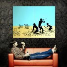 Cavemen Hunting Shopping Carts Banksy Graffiti Art Huge 47x35 Print POSTER