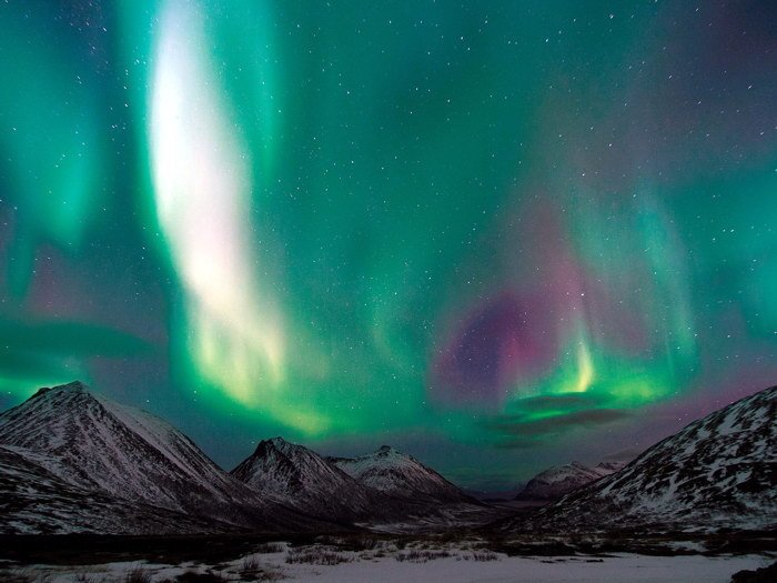 Mountains Polar Aurora Glow Stars Nature 16x12 Print Poster