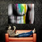 Hot Sexy Male Breast Nipple Paint Color Huge 47x35 Print POSTER
