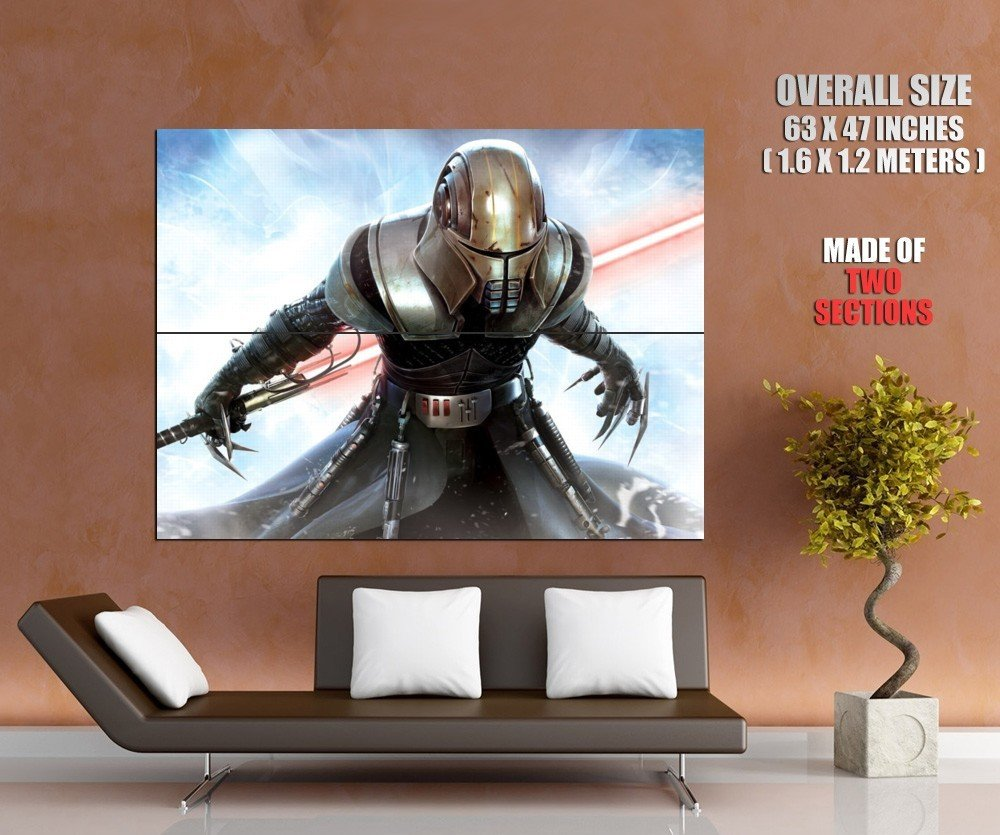 Star Wars Force Unleashed Lightsaber Mask Art Sci Fi Huge Giant Print Poster