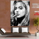 Angelina Jolie Smoking Blonde Hot Portrait Bw Huge Giant Print Poster