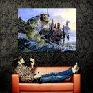 Bass Fishing Lake Sunset Fisherman Painting Art Huge 47x35 Print POSTER