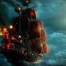Pirate Ship Night Sea Lantern Lights 16x12 Print Poster