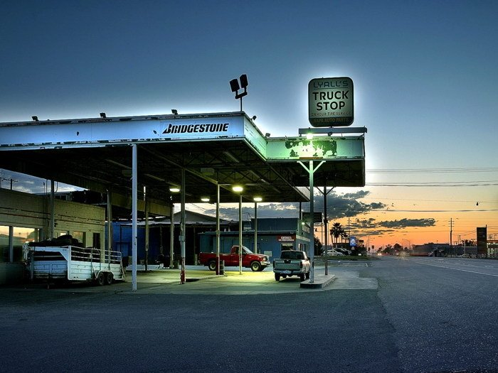 Bridgestone Truck Stop Evening Car 16x12 Print POSTER