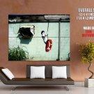 Boy Swinging Banksy Graffiti Street Art Huge Giant Print Poster