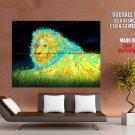 Colorful Lion Night Animal Art Huge Giant Print Poster