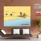 Wulffmorgenthaler Sharks Sand Comic Funny Cool Art Huge Giant Print Poster
