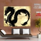 Black Chinese Dragon Asian Art Huge Giant Print Poster