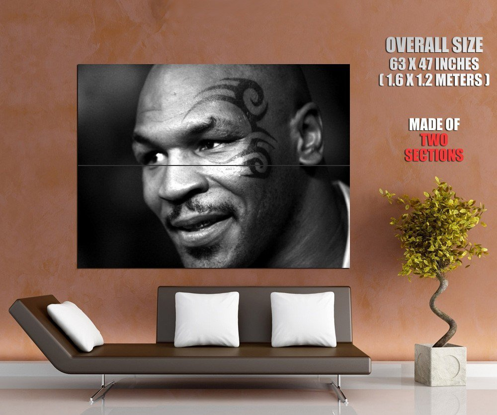 Mike Tyson Portrait Bw Tattoo Boxing Sport Huge Giant Print Poster