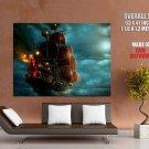 Pirate Ship Night Sea Lantern Lights GIANT 63x47 Print Poster