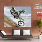 Kawasaki Jump Motocross Bike Huge Giant Print Poster