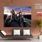 Bikers Vector Art Classic Bike Motorcycle Huge Giant Print Poster