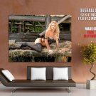 Busty Blonde Babe Hot Stocking Huge Giant Print Poster